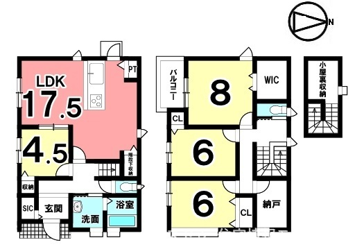 全室南向きの明るいおうち。納戸や小屋裏収納など収納スペースも豊富に確保しております。駐車2台可能です。