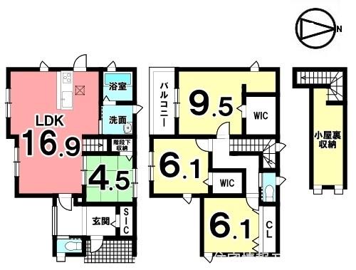 1階は和室を合わせて21帖の大きなお部屋。キッチン・洗面など水まわりを一か所に集めた便利な配置。駐車2台可能です