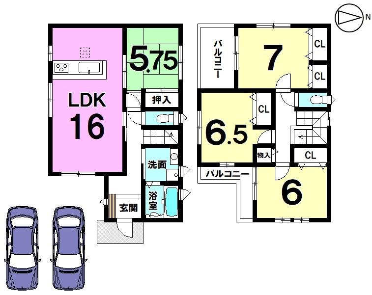 全室に収納スペースを確保しました。バルコニーは南向きに2か所もうけ、お洗濯物もゆったり干して頂けます。並列で2台駐車可能です。