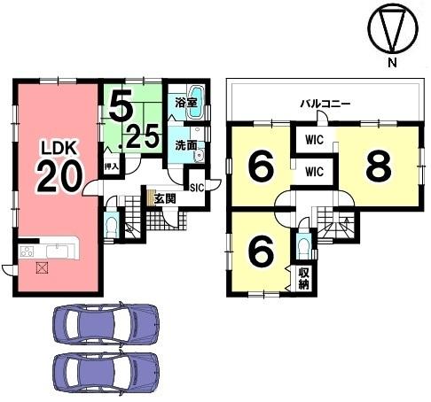 LDK20帖!広々とした間取りの物件です。2室から出入りできるロングバルコニーは南向きで冬場でもお洗濯物がしっかり乾きます。並列で2台駐車可能です。