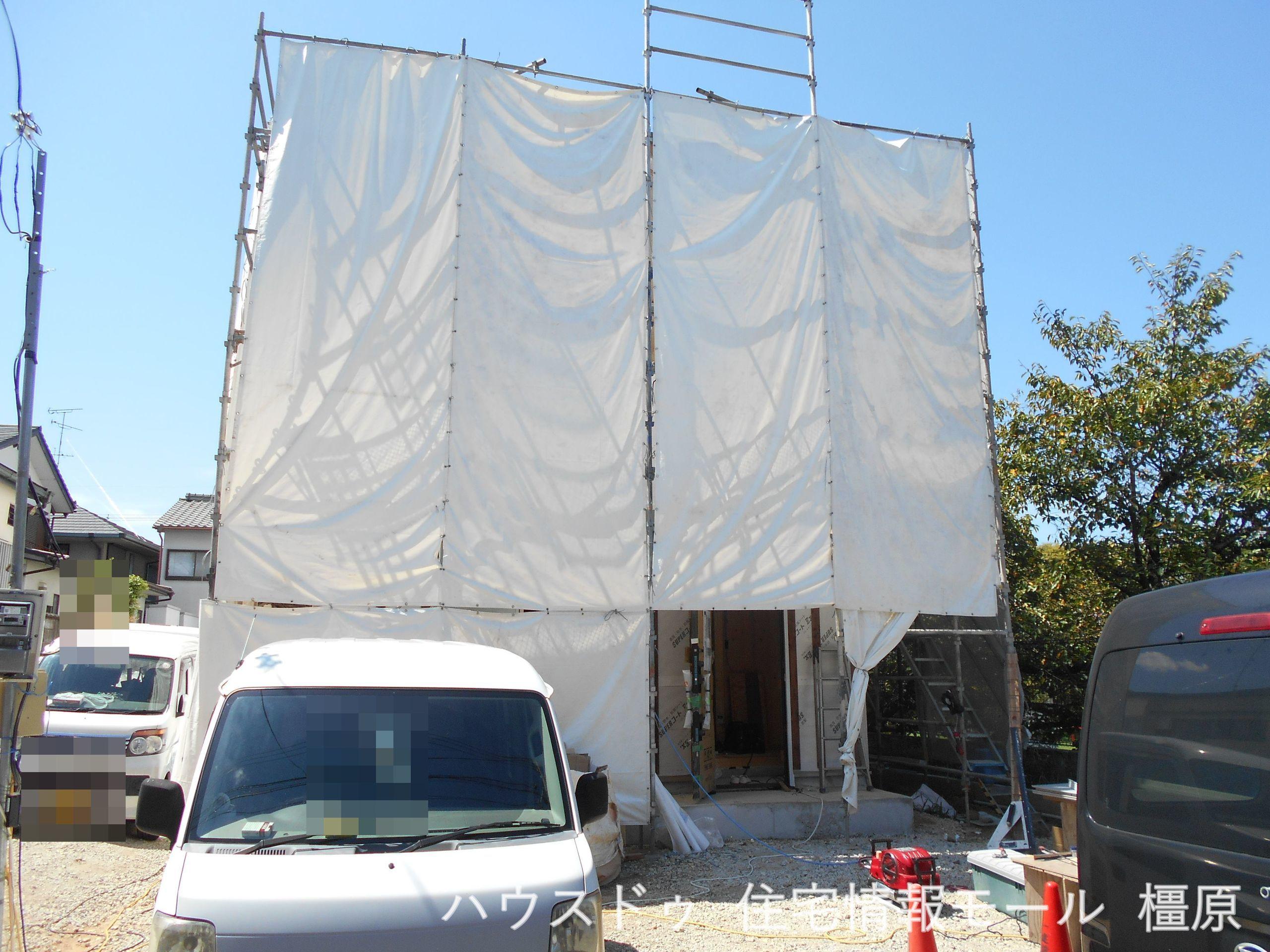 建築工事が始まりました。構造部分もしっかりご確認下さい。モデルルームへのご案内も可能です。(2021年9月撮影)