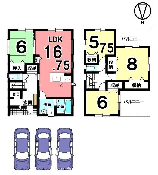 キッチンから洗面・浴室へ直接入れる便利な配置。収納スペースも豊富に確保しております。並列で3台駐車可能です