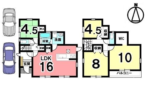 2階10帖の洋室は主寝室にぴったり。南向きで日差しがたっぷり入ります。駐車2台可能です。