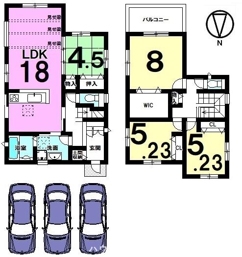 1階は和室を合わせて22.5帖の大きなお部屋。お客様を招いてホームパーティーもお楽しみ頂ける広さです。並列で3台駐車可能!