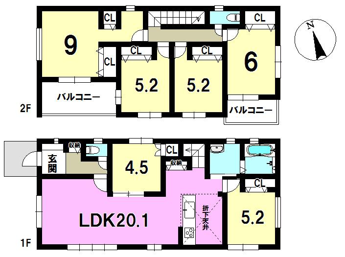 2号棟 6LDK 土地面積237.82㎡ 建物面積124.22㎡