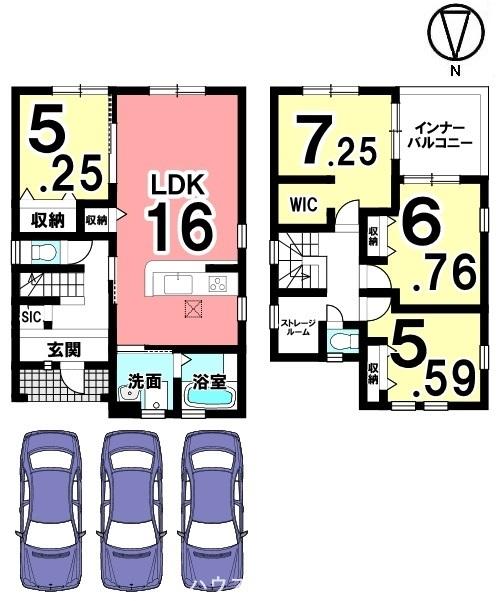 全室フローリング張りの物件です。キッチン・洗面など水まわりを1か所に集めた便利な配置。並列で3台駐車可能です