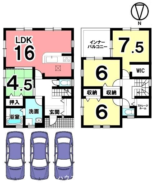 全室に収納スペースを配置。南向きの明るいLDKを是非ご覧下さい