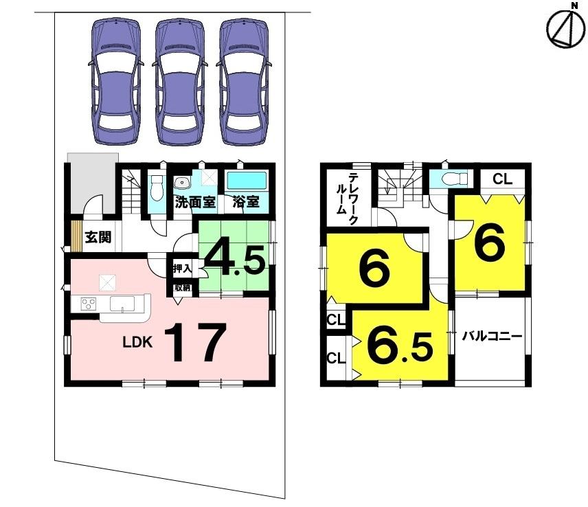 土地面積 157.21㎡(47.55坪) 建物面積 106.92㎡(32.34坪) 4LDK+S(納戸) 駐車場3台