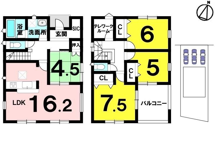 土地面積 167.62㎡(50.7坪) 建物面積 106.10㎡(32.09坪) 4LDK+S 駐車場3台