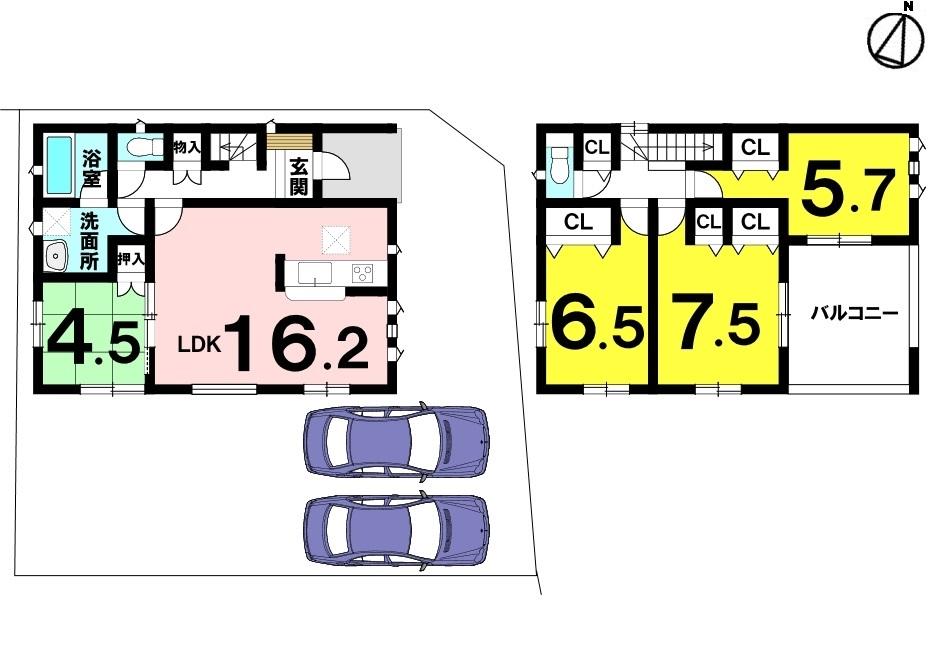 土地面積 155.32㎡(46.98坪) 建物面積 104.48㎡(31.6坪) 4LDK 駐車場2台