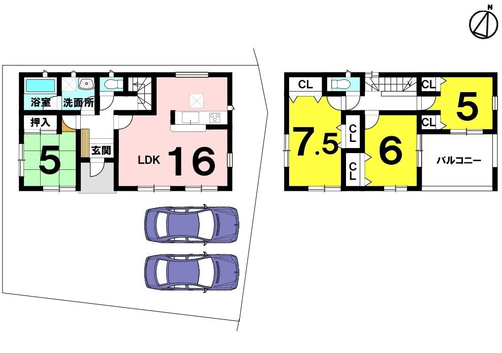 土地面積 149.85㎡(45.32坪) 建物面積 104.49㎡(31.6坪) 4LDK 駐車場2台