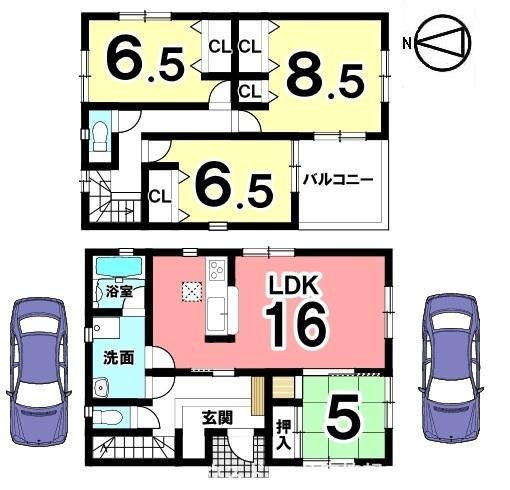 2階8.5帖の洋室は主寝室にぴったりですね。収納も充実した間取りとなっています。並列で駐車2台可能です。