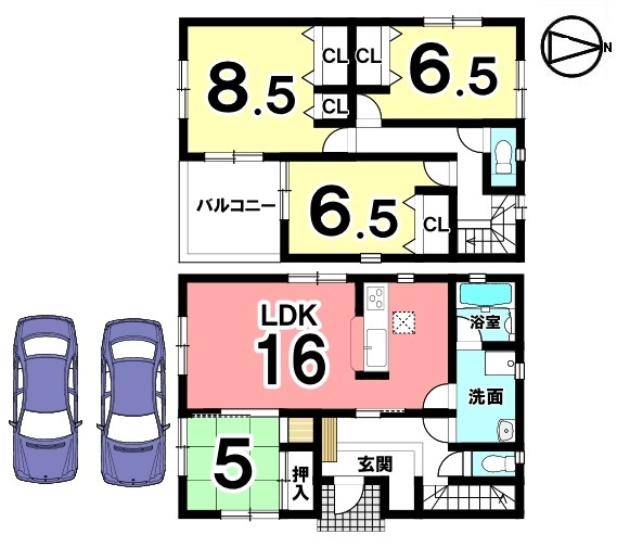 約3帖のゆったりとした洗面室。お風呂上りに必要なバスタオルや日用品を置くチェストも設置いただけます。並列で2台駐車可能です