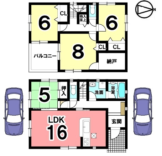 2階8帖の洋室は主寝室にいかがでしょうか? 大きな納戸もあり、収納に困る事はありません。並列で2台駐車可能です