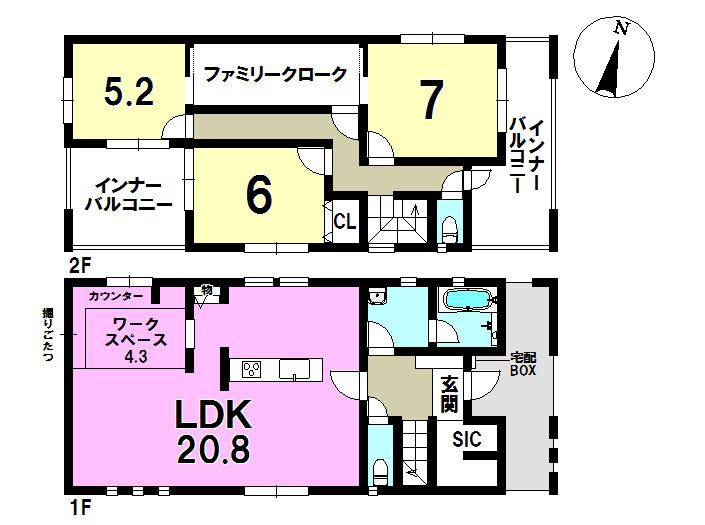 2号棟 3LDK+S 土地面積214.53㎡ 建物面積109.34㎡