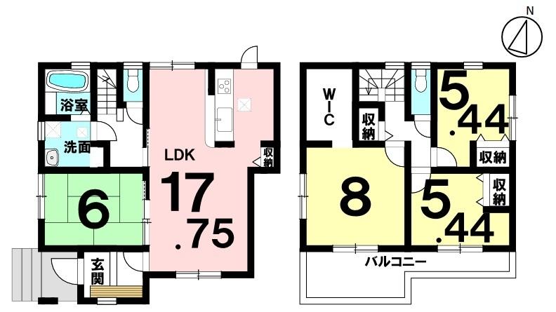 土地面積 178.50㎡(53.99坪) 建物面積 103.51㎡(31.31坪) 4LDK 駐車場2台