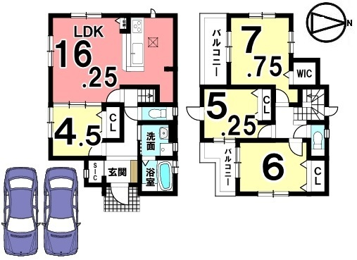 全室フローリング張り。1階にも洋室をもうけます。全てのお部屋が南向きの明るい物件。並列で2台駐車可能です。