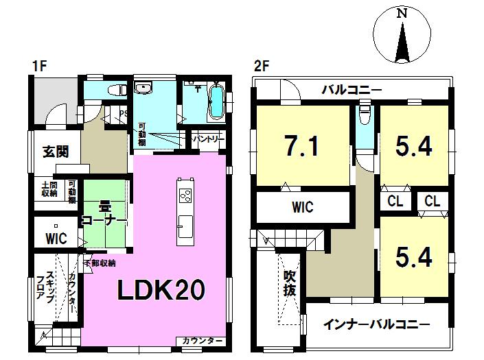 2号棟 4LDK+S 土地面積190.35㎡ 建物面積121.65㎡