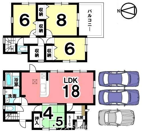 18帖の大きなLDKを是非ご覧下さい!2階には約2帖の収納ももうけました。並列で3台駐車可能です。