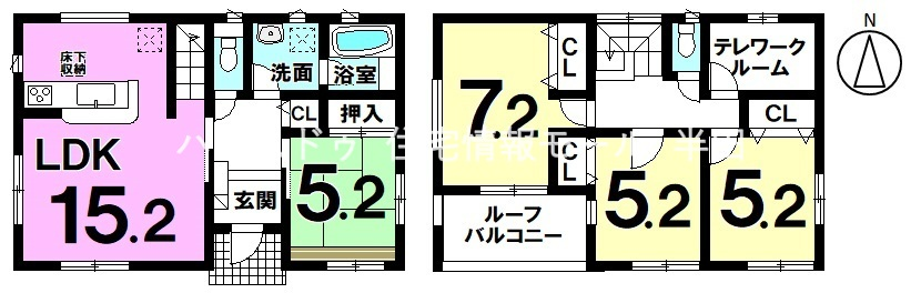 全居室2面採光4LDK! テレワークルーム付でリモートワークも安心♪