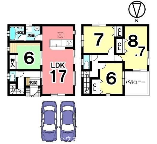 全室6帖以上。キッチンから直接洗面・浴室に入れる便利な配置です。並列で2台駐車可能!