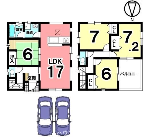 1階は和室を合わせて23帖の大きなお部屋としてご利用頂けます。約6帖のワイドバルコニーは屋根があり突然の雨でもお洗濯物を濡らす心配はありません。