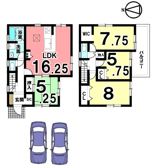 全室南向き!晴れた日お昼間なら照明をつけなくてもお過ごし頂けます。並列で2台駐車可能です。