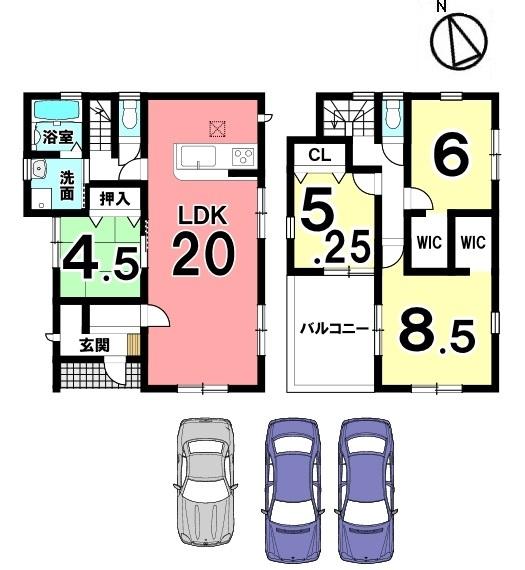 20帖の大きなLDKが自慢の物件!全居室に収納スペースを確保しております。並列で3台駐車可能です