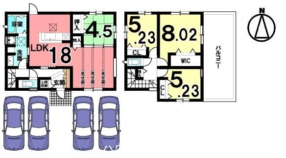 見せ梁のリビングは、大変開放的で和室と合わせると22.5帖と大きなスペース! 駐車も並列で4台可能です。