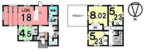 南向きの18帖のリビングはおすすめポイントです。駐車も3台可能で、急なご来客が有っても安心です。